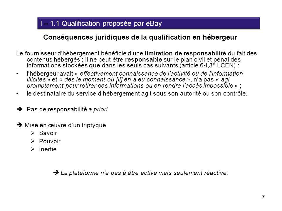 Conséquences juridiques de la qualification en hébergeur