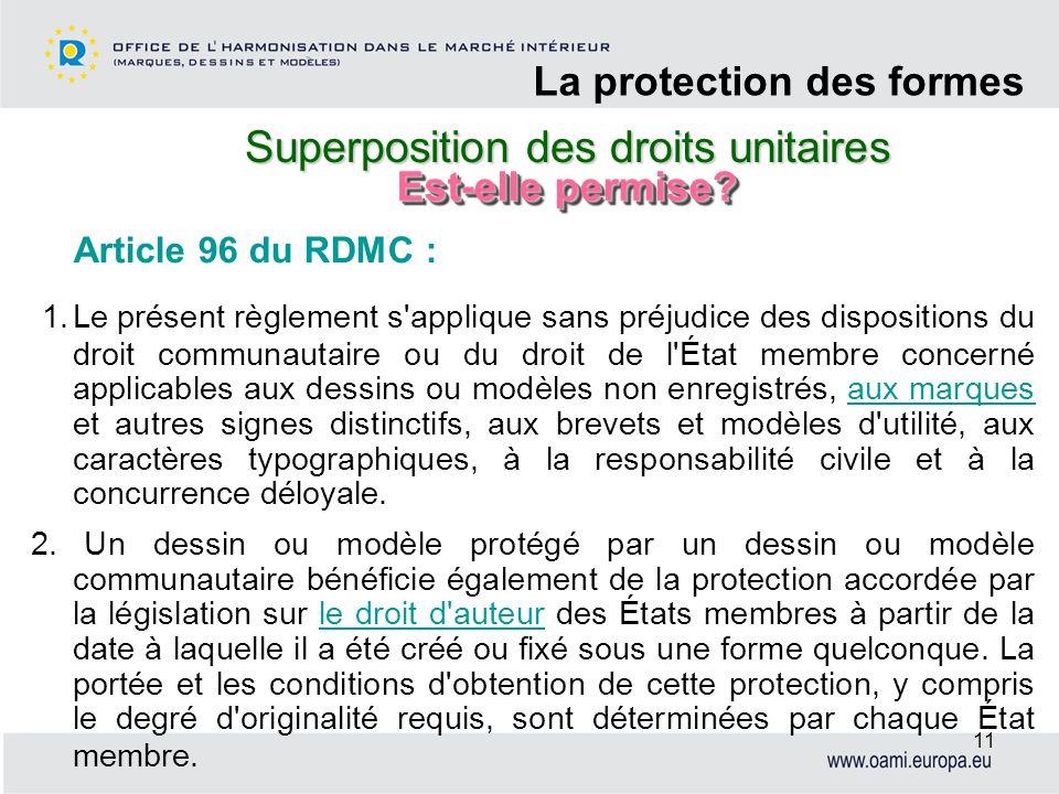 Superposition des droits unitaires CADRE LEGISLATIF