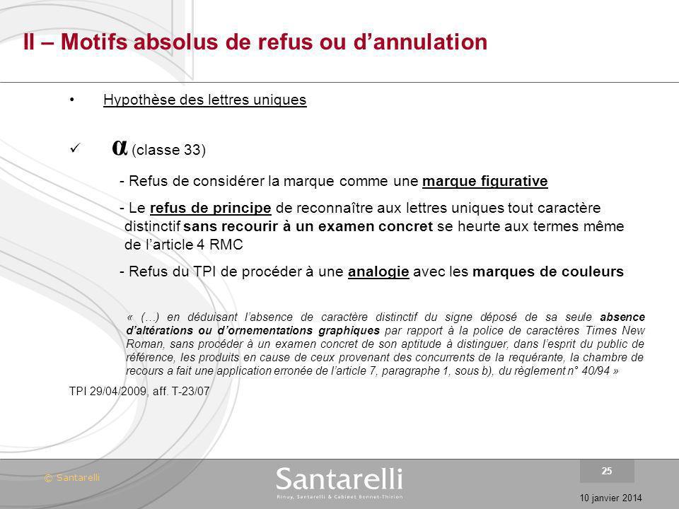 II – Motifs absolus de refus ou d'annulation