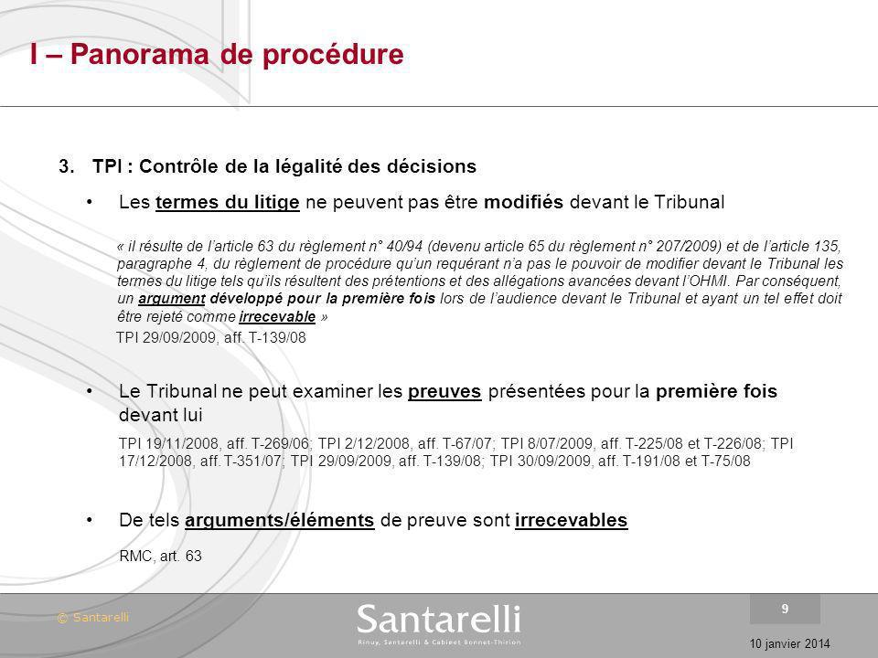 I – Panorama de procédure