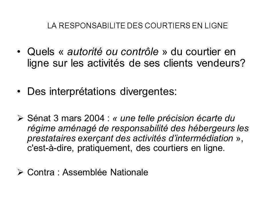 LA RESPONSABILITE DES COURTIERS EN LIGNE