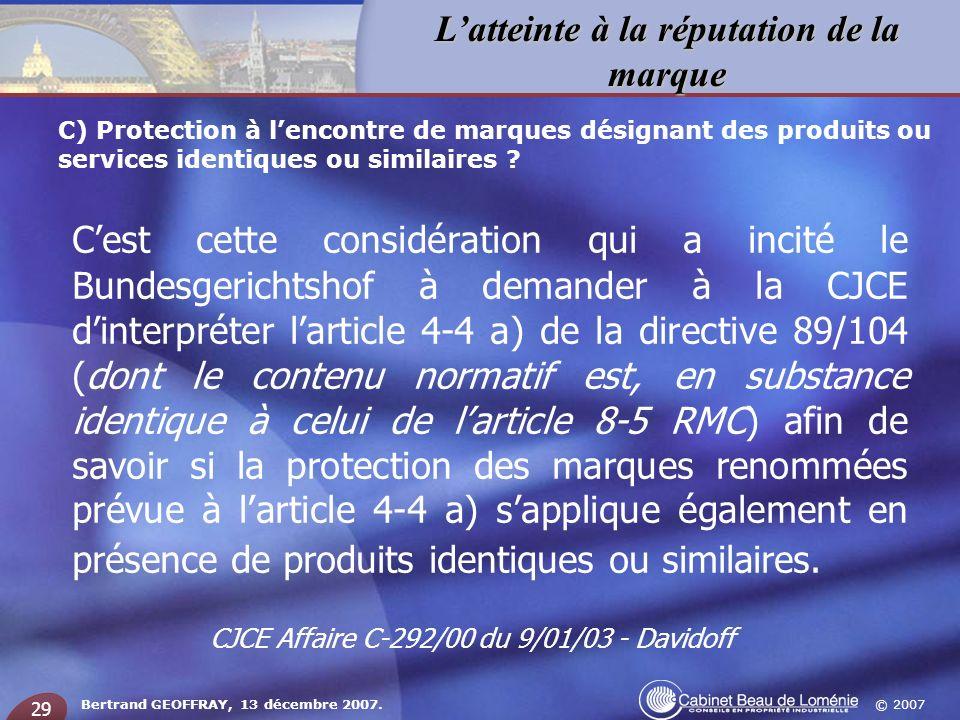 CJCE Affaire C-292/00 du 9/01/03 - Davidoff