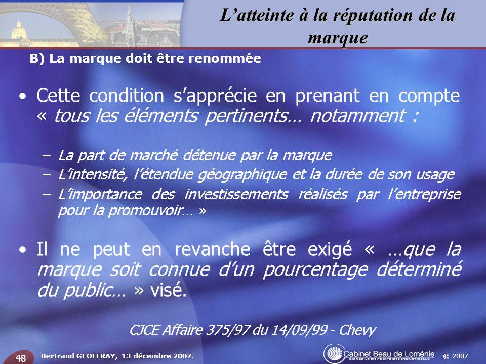 CJCE Affaire 375/97 du 14/09/99 - Chevy