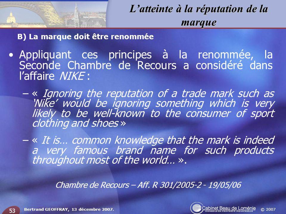 Chambre de Recours – Aff. R 301/2005-2 - 19/05/06