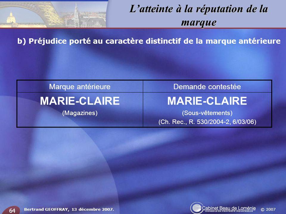 MARIE-CLAIRE Marque antérieure Demande contestée