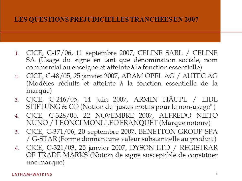 LES QUESTIONS PREJUDICIELLES TRANCHEES EN 2007