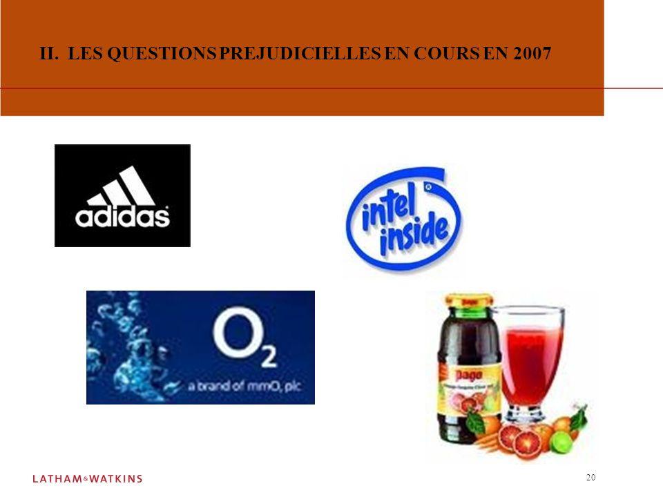 II. LES QUESTIONS PREJUDICIELLES EN COURS EN 2007