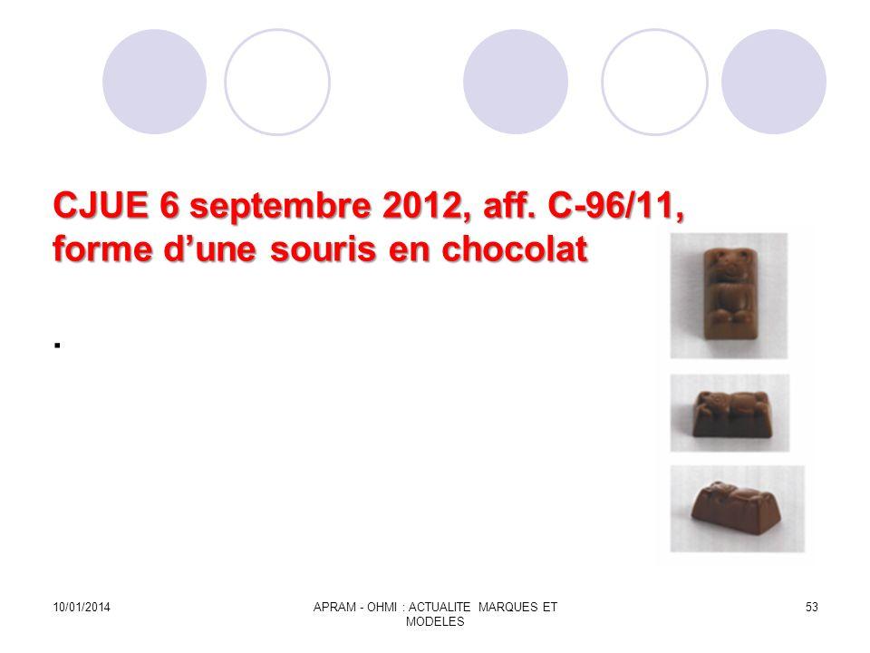 CJUE 6 septembre 2012, aff. C-96/11, forme d'une souris en chocolat .