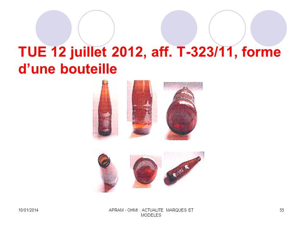 TUE 12 juillet 2012, aff. T-323/11, forme d'une bouteille