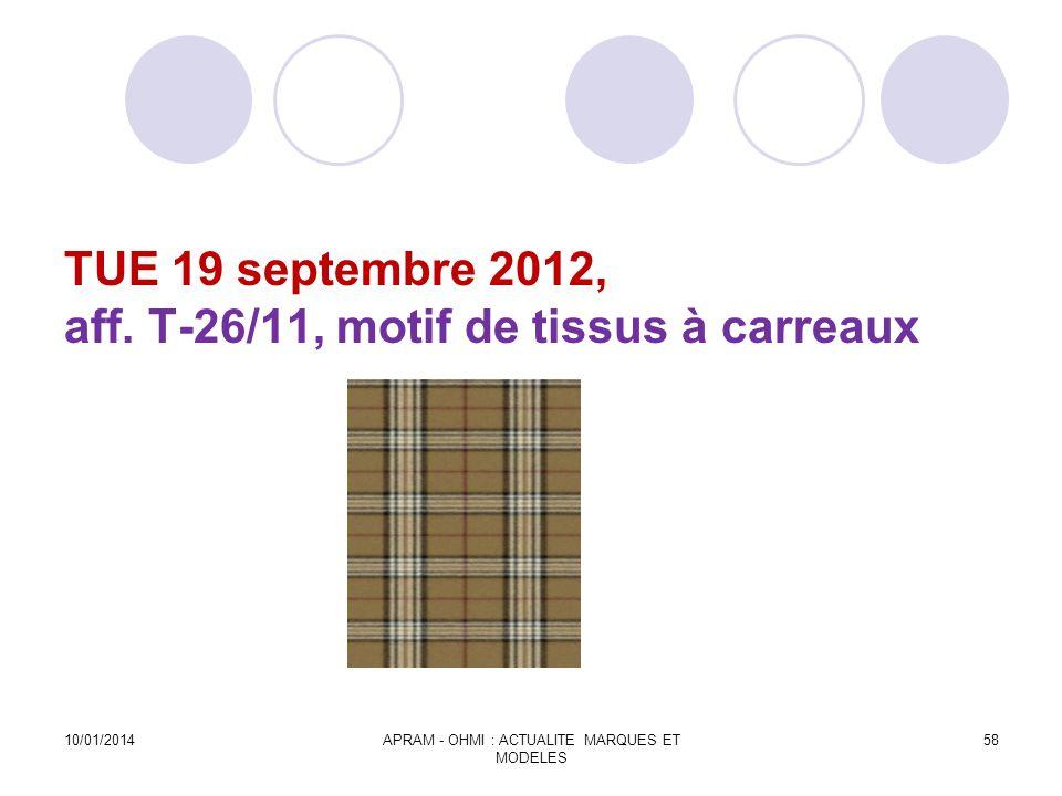 TUE 19 septembre 2012, aff. T-26/11, motif de tissus à carreaux
