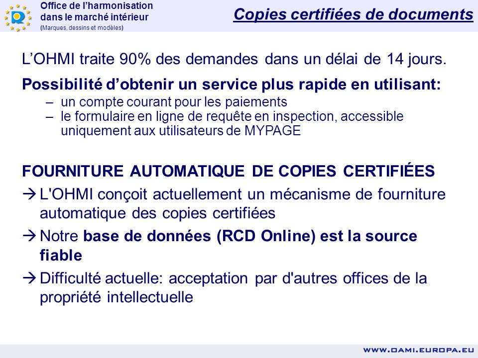 Copies certifiées de documents