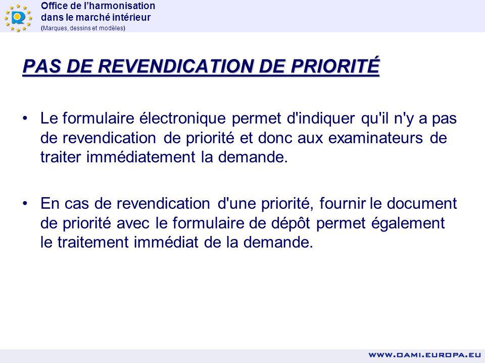 PAS DE REVENDICATION DE PRIORITÉ