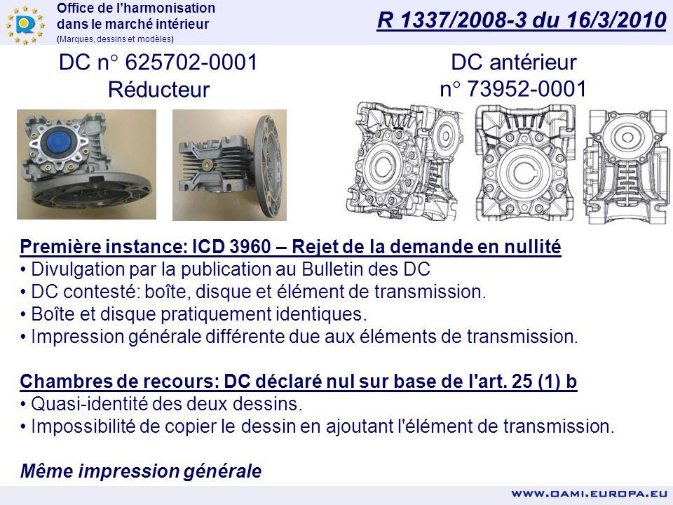 R 1337/2008-3 du 16/3/2010 DC n° 625702-0001 Réducteur DC antérieur