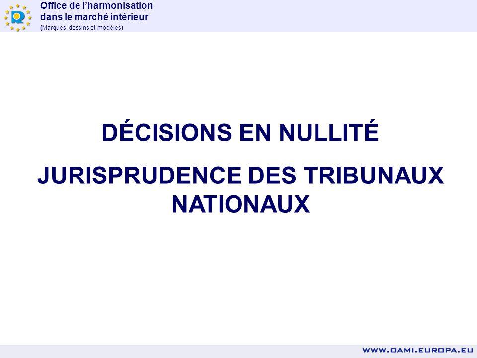 JURISPRUDENCE DES TRIBUNAUX NATIONAUX