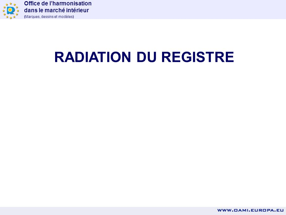 RADIATION DU REGISTRE