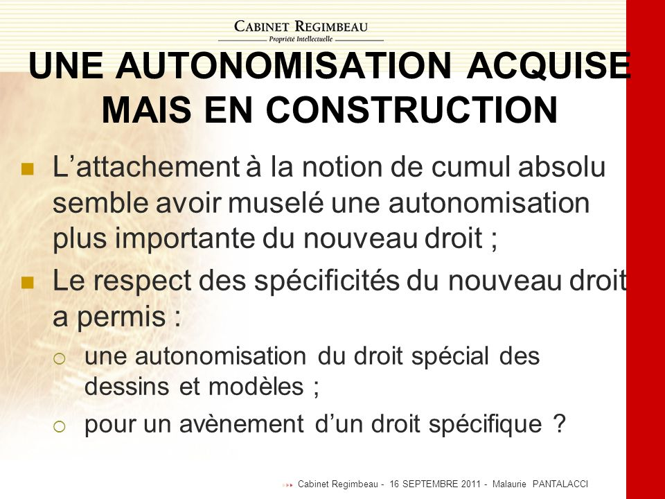 UNE AUTONOMISATION ACQUISE MAIS EN CONSTRUCTION