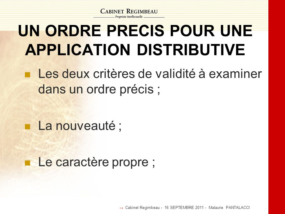 UN ORDRE PRECIS POUR UNE APPLICATION DISTRIBUTIVE