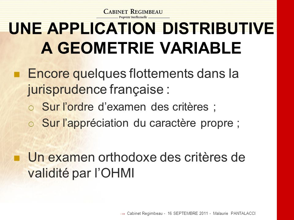 UNE APPLICATION DISTRIBUTIVE A GEOMETRIE VARIABLE