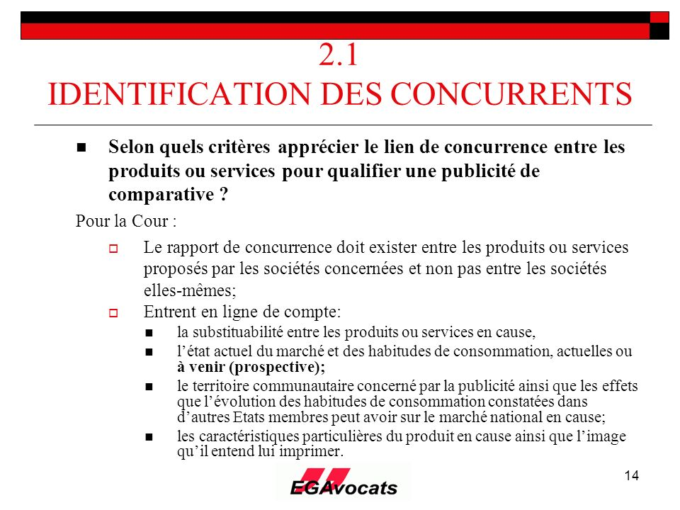 2.1 IDENTIFICATION DES CONCURRENTS