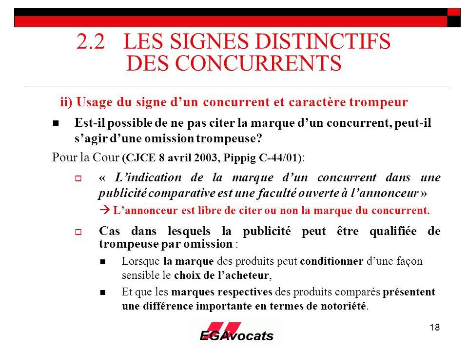 2.2 LES SIGNES DISTINCTIFS DES CONCURRENTS