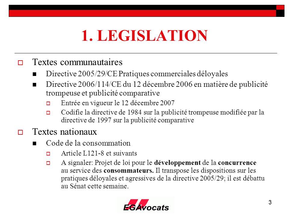 1. LEGISLATION Textes communautaires Textes nationaux