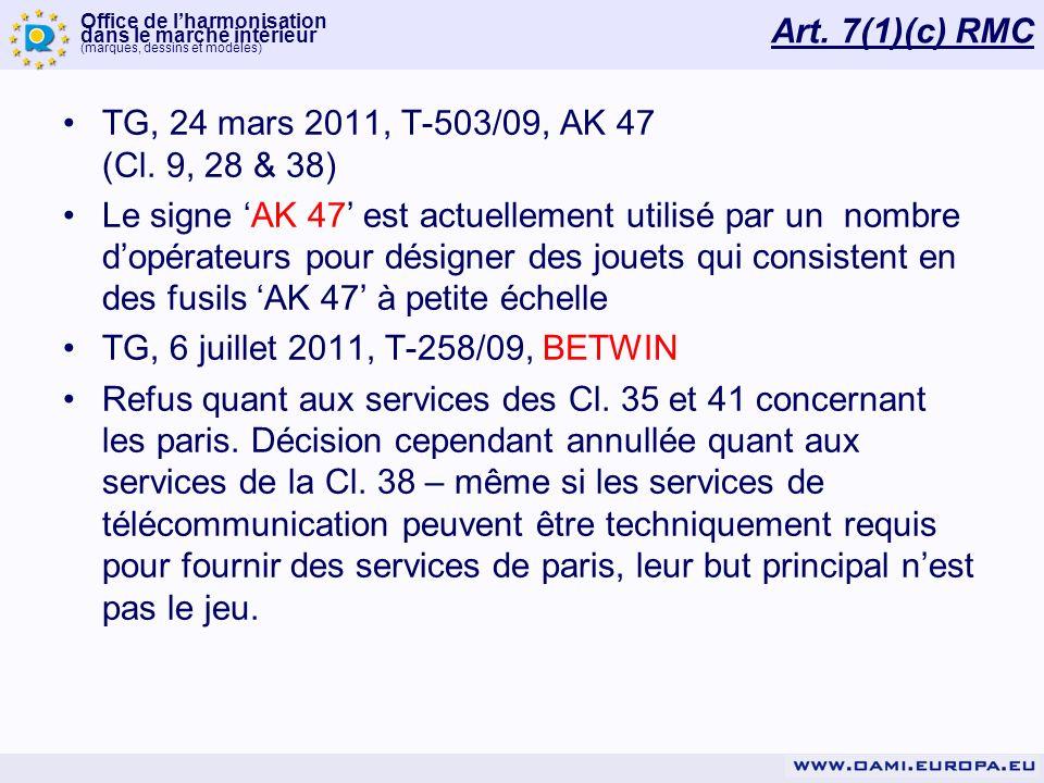 Art. 7(1)(c) RMC TG, 24 mars 2011, T-503/09, AK 47 (Cl. 9, 28 & 38)
