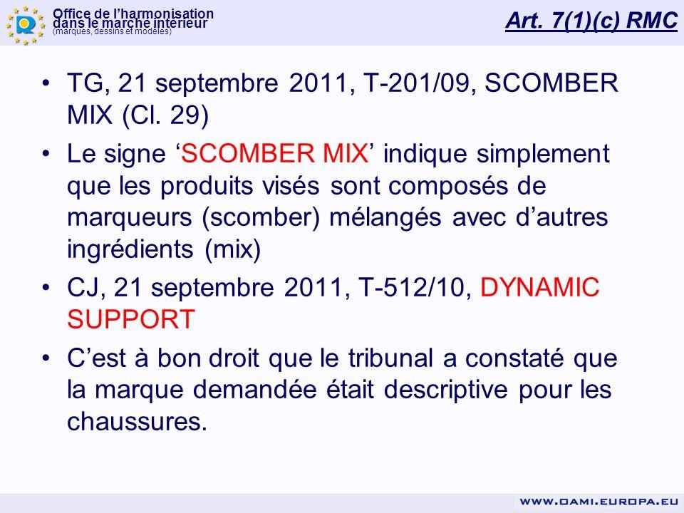 TG, 21 septembre 2011, T-201/09, SCOMBER MIX (Cl. 29)