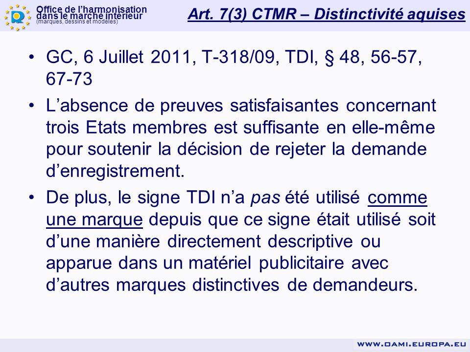 Art. 7(3) CTMR – Distinctivité aquises