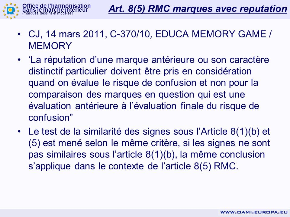 Art. 8(5) RMC marques avec reputation