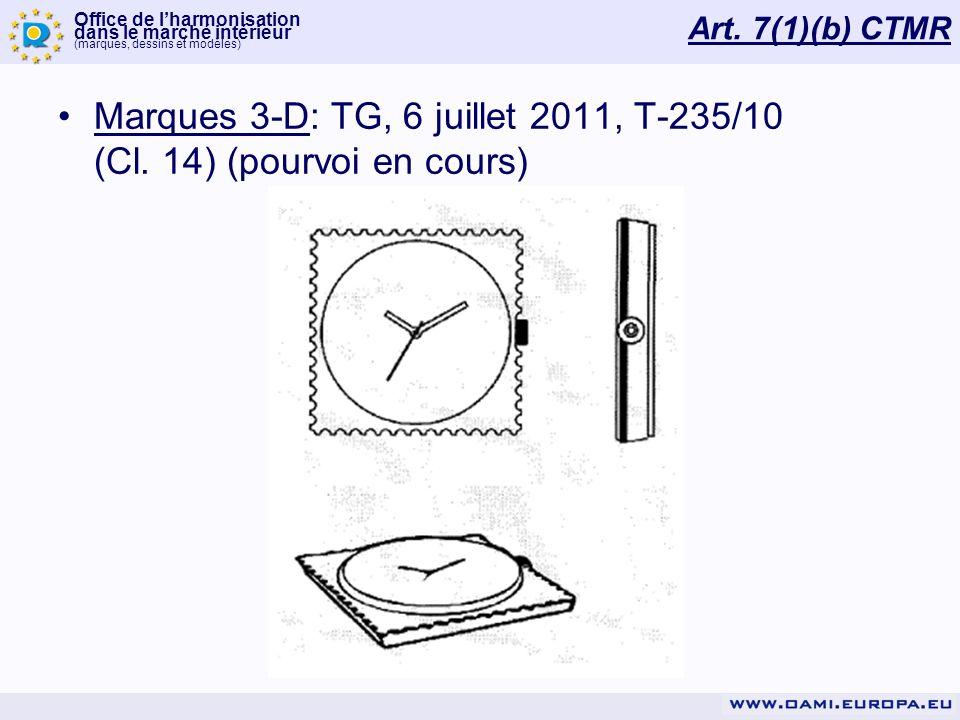 Marques 3-D: TG, 6 juillet 2011, T-235/10 (Cl. 14) (pourvoi en cours)