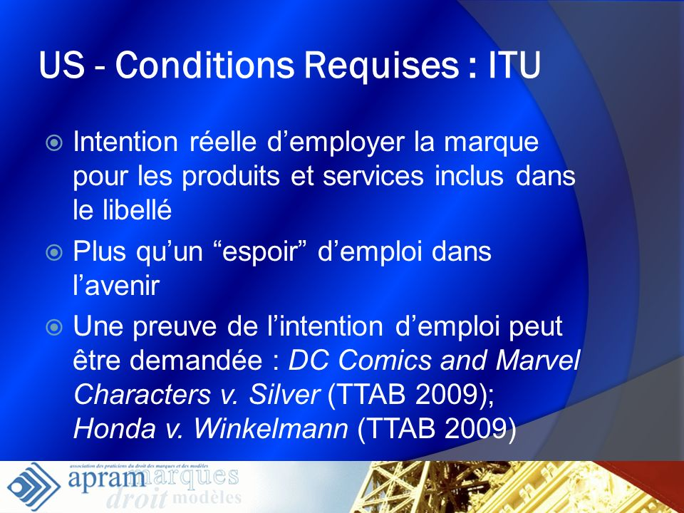 US - Conditions Requises : ITU