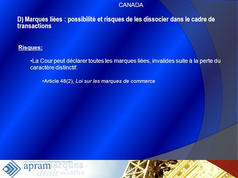 CANADAD) Marques liées : possibilité et risques de les dissocier dans le cadre de transactions. Risques: