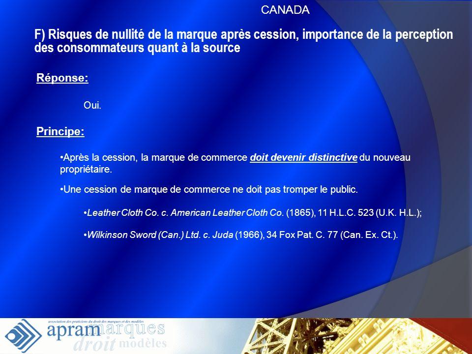 CANADAF) Risques de nullité de la marque après cession, importance de la perception des consommateurs quant à la source.