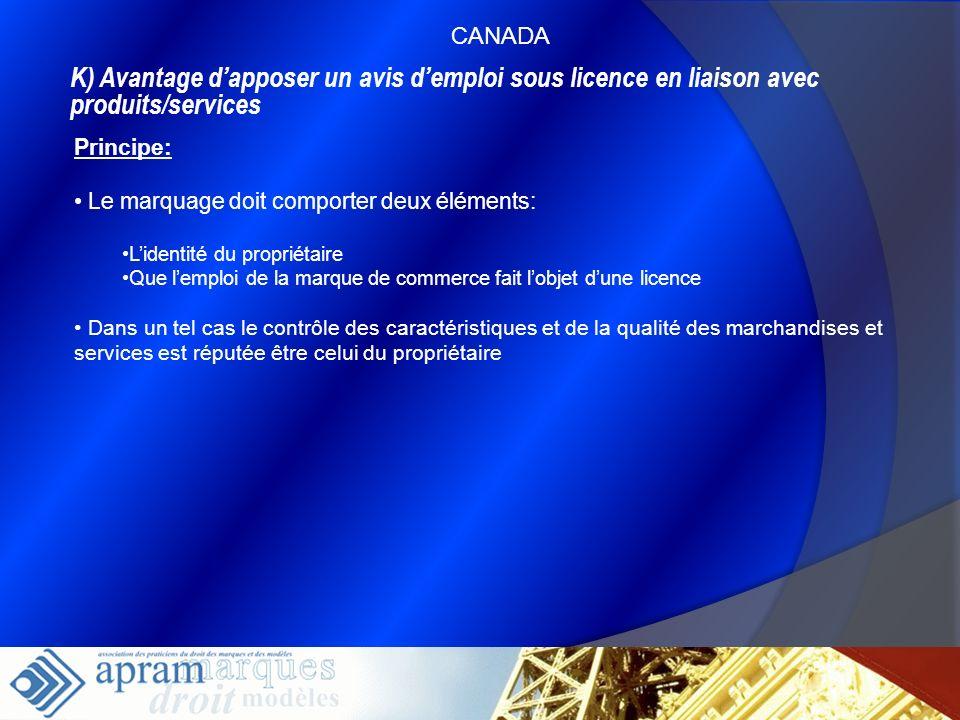 CANADAK) Avantage d'apposer un avis d'emploi sous licence en liaison avec produits/services. Principe: