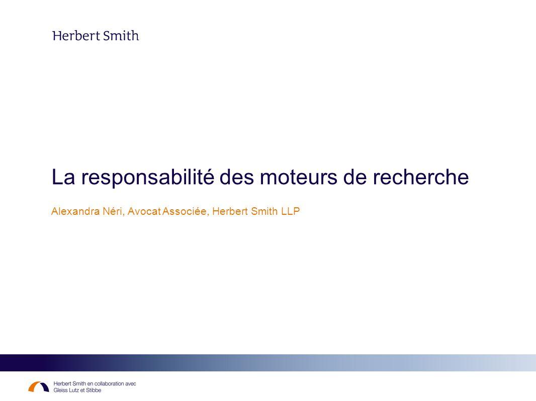 La responsabilité des moteurs de recherche