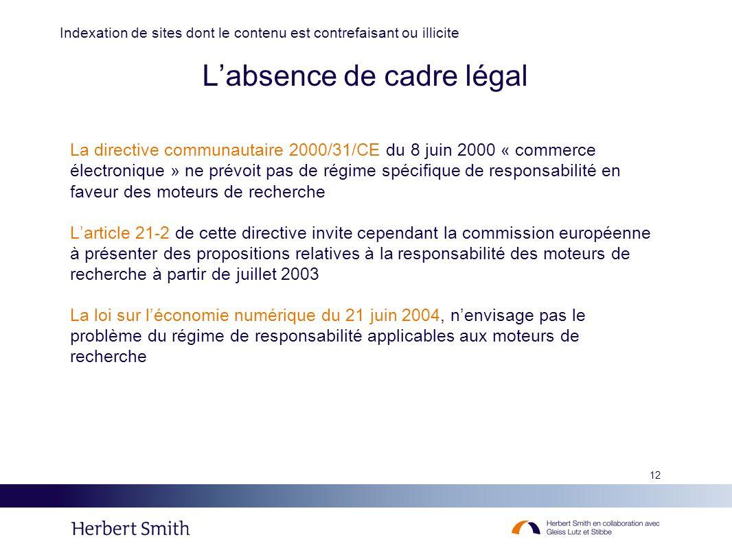 L'absence de cadre légal