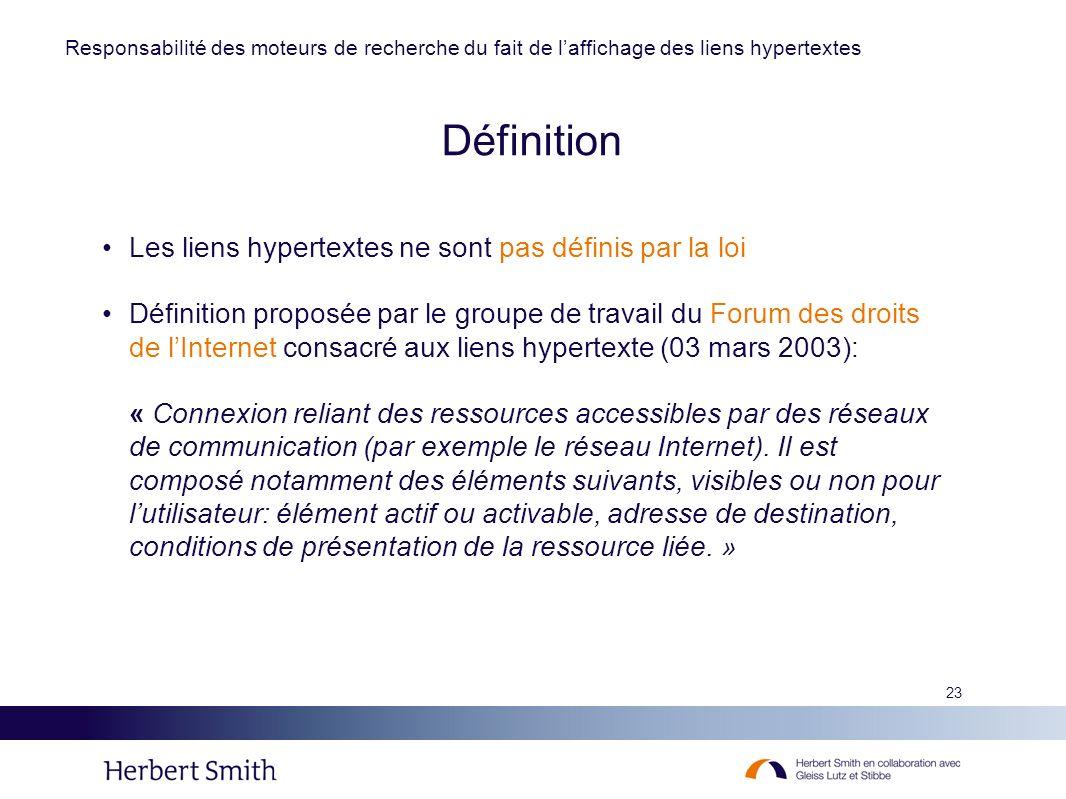 Définition Les liens hypertextes ne sont pas définis par la loi