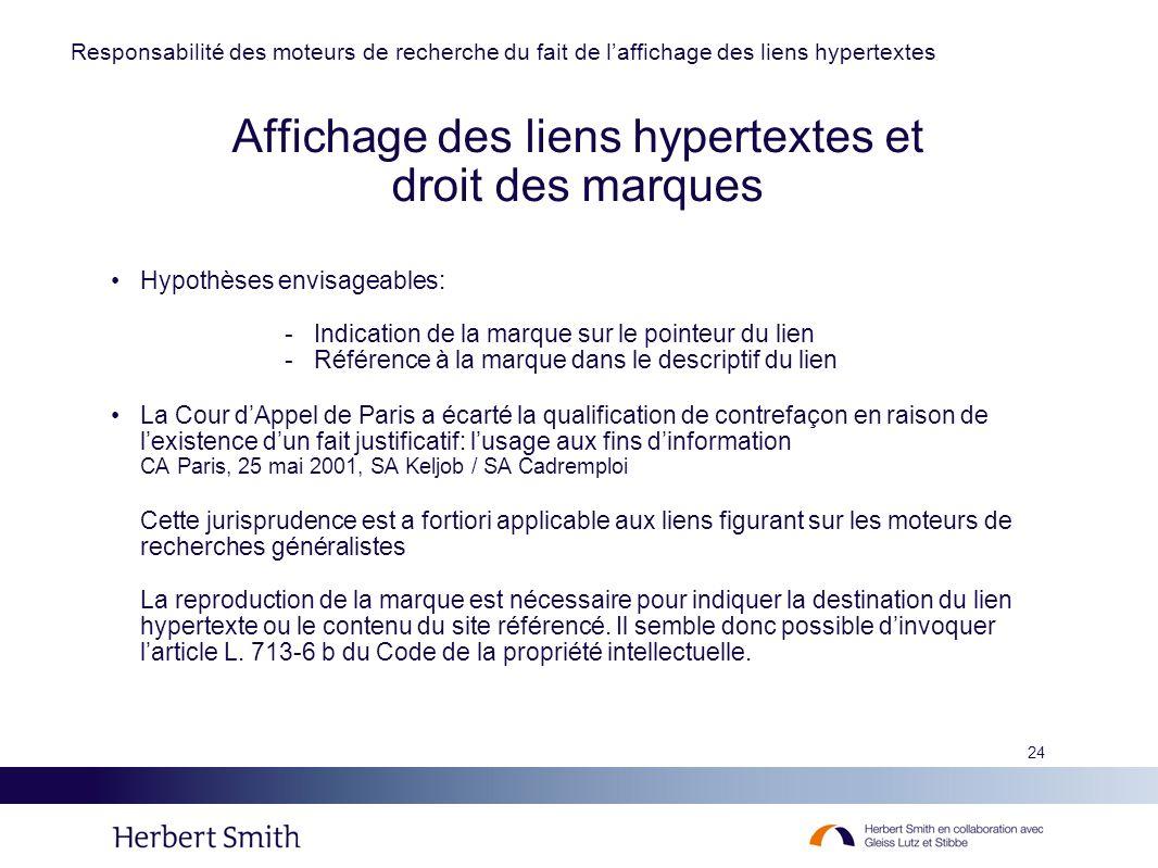 Affichage des liens hypertextes et droit des marques