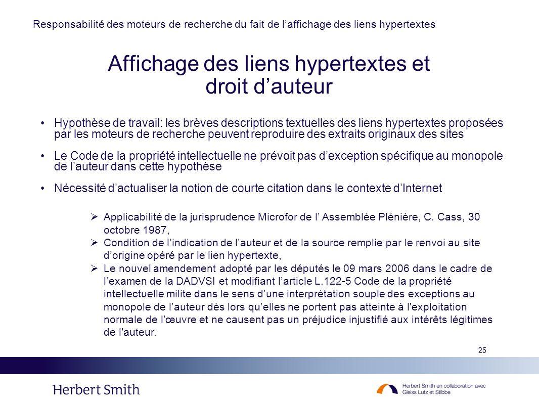 Affichage des liens hypertextes et droit d'auteur