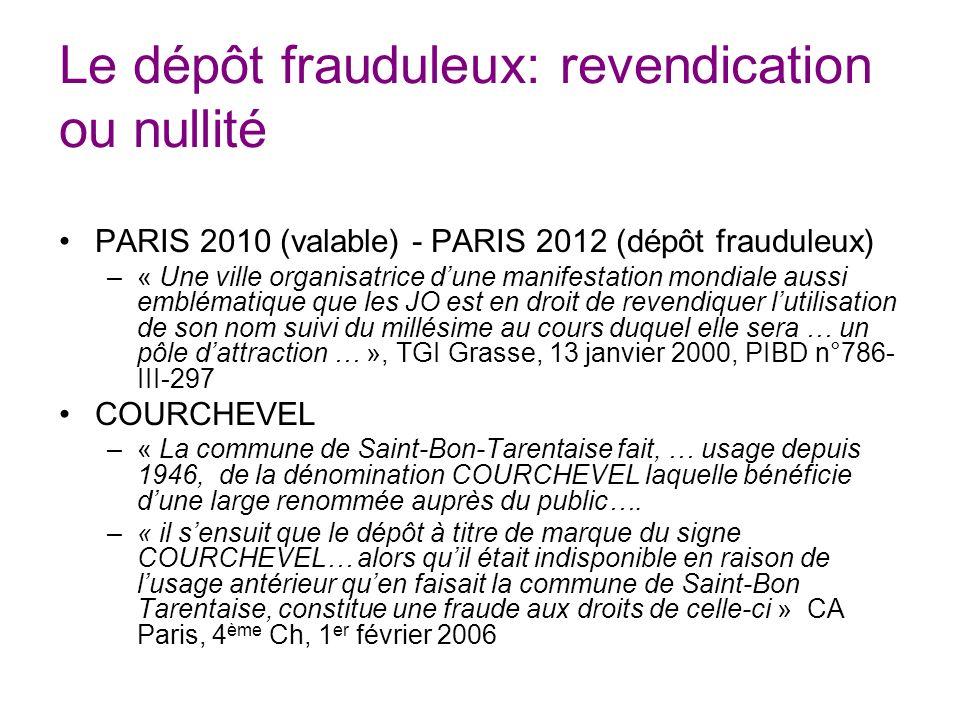 Le dépôt frauduleux: revendication ou nullité