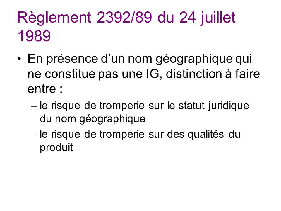 Règlement 2392/89 du 24 juillet 1989 En présence d'un nom géographique qui ne constitue pas une IG, distinction à faire entre :