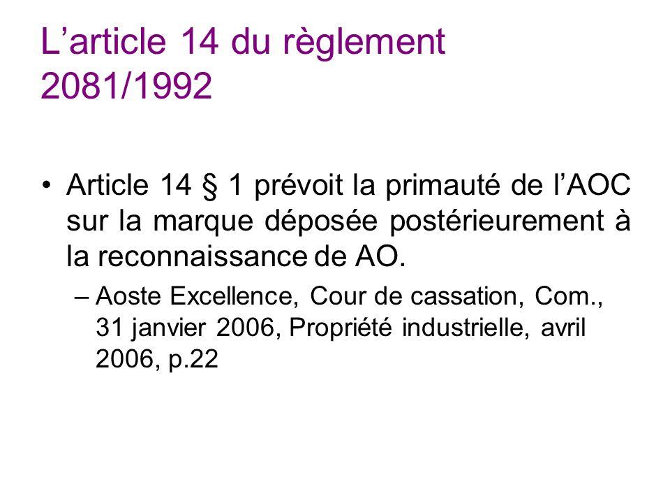 L'article 14 du règlement 2081/1992
