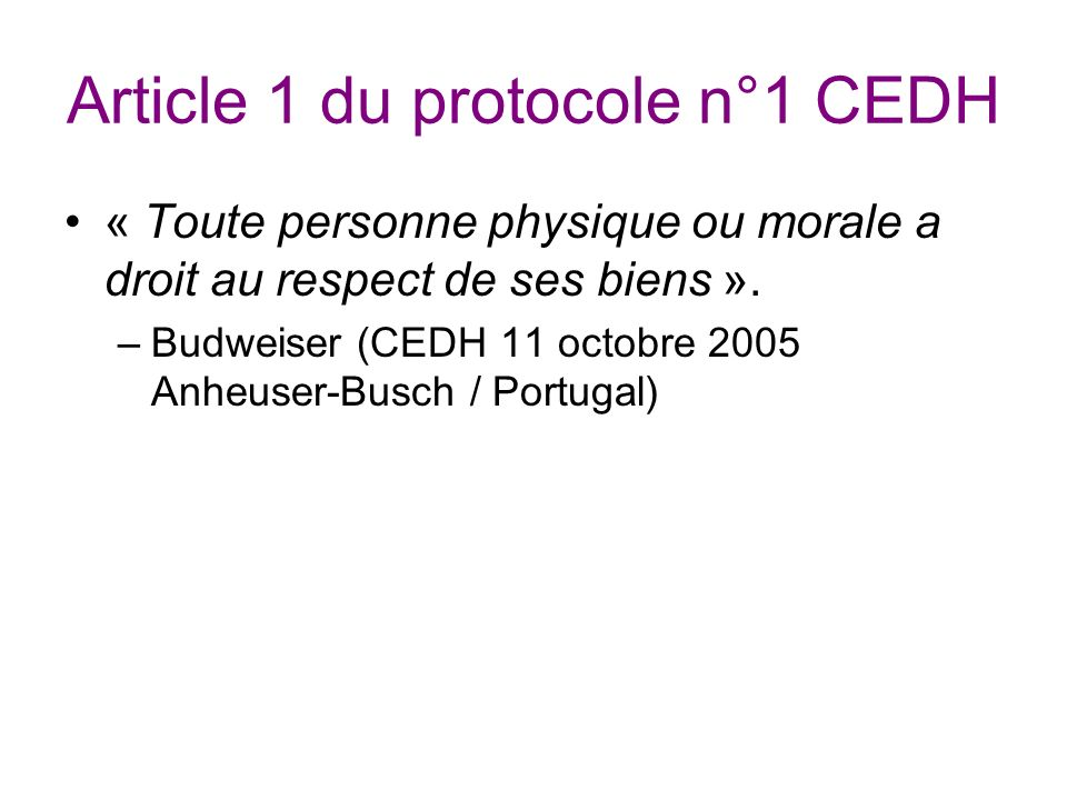 Article 1 du protocole n°1 CEDH