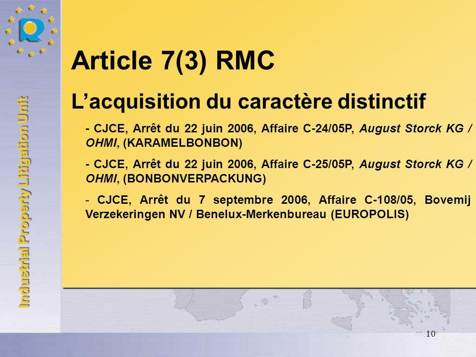 Article 7(3) RMC L'acquisition du caractère distinctif