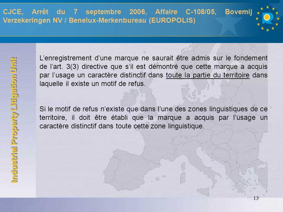 CJCE, Arrêt du 7 septembre 2006, Affaire C-108/05, Bovemij Verzekeringen NV / Benelux-Merkenbureau (EUROPOLIS)