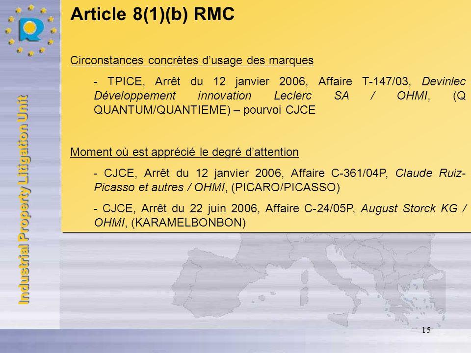 Article 8(1)(b) RMC Circonstances concrètes d'usage des marques