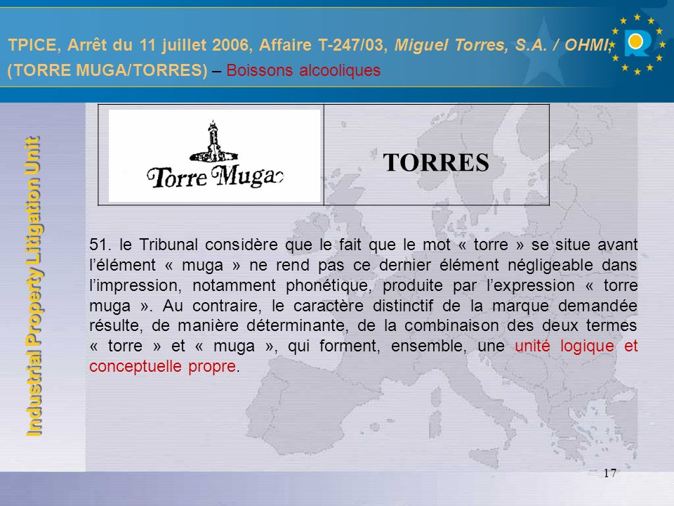 TPICE, Arrêt du 11 juillet 2006, Affaire T-247/03, Miguel Torres, S. A