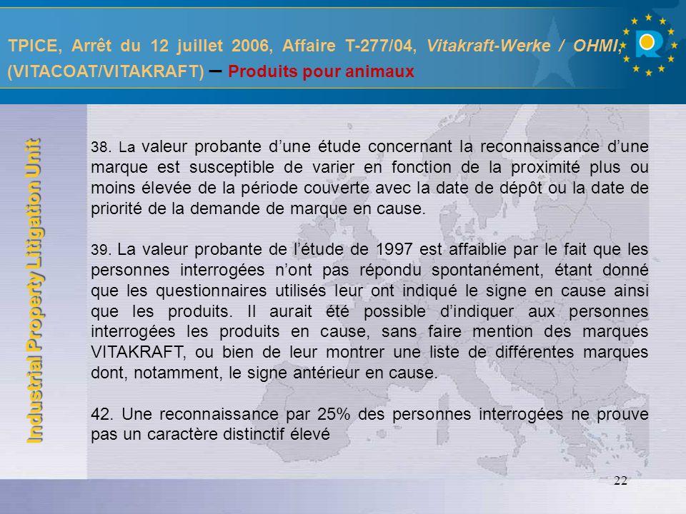 TPICE, Arrêt du 12 juillet 2006, Affaire T-277/04, Vitakraft-Werke / OHMI, (VITACOAT/VITAKRAFT) – Produits pour animaux