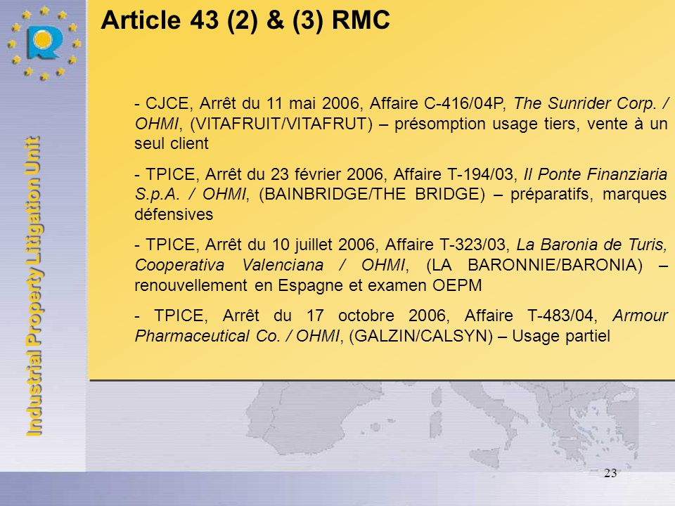 Article 43 (2) & (3) RMC