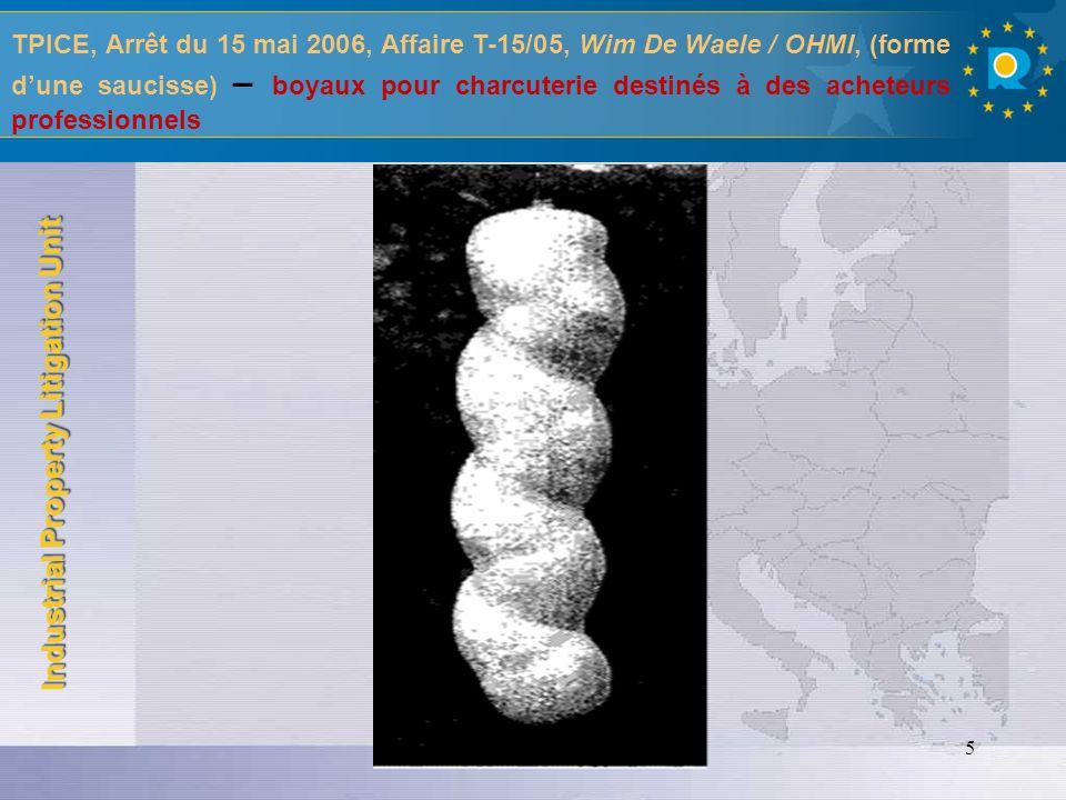 TPICE, Arrêt du 15 mai 2006, Affaire T-15/05, Wim De Waele / OHMI, (forme d'une saucisse) – boyaux pour charcuterie destinés à des acheteurs professionnels